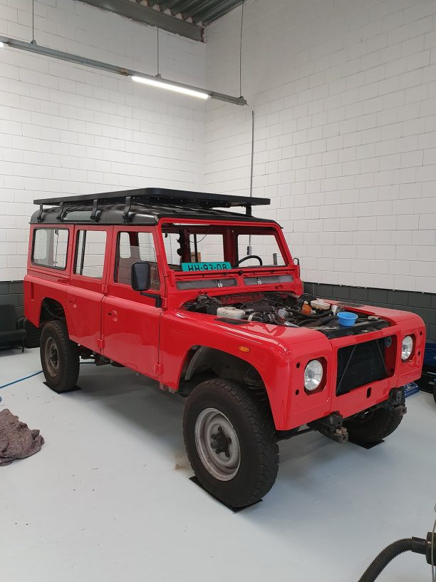 Land Rover Defender during build